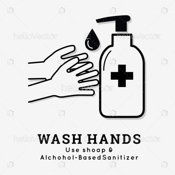 Wash your hands signage - Vector Illustration