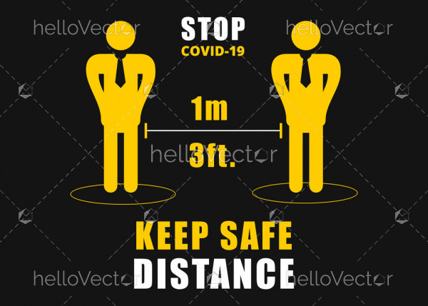 Social distancing signage - Vector Illustration