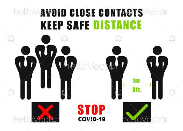 Safe distancing signage - Vector Illustration