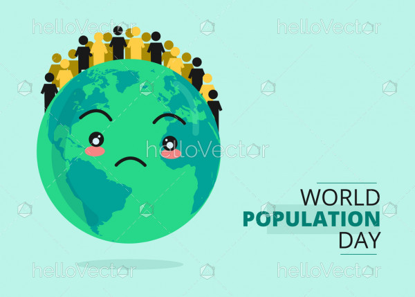 World population day poster - Vector Illustration