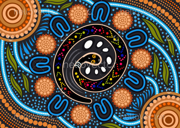 Aboriginal rainbow serpent background
