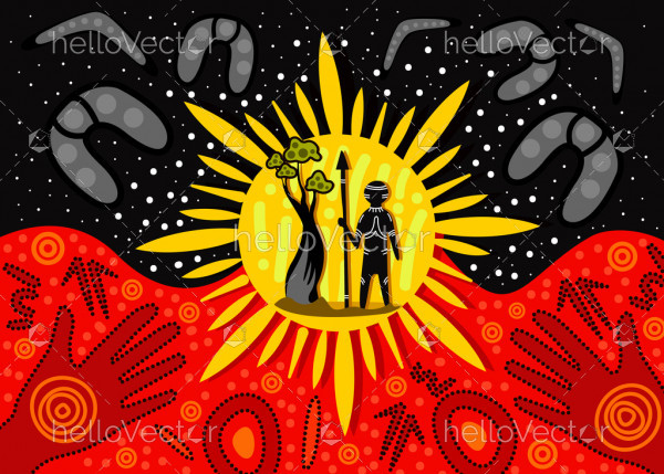 Aboriginal art painting - Vector Illustration