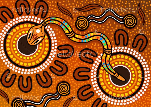 Aboriginal rainbow serpent background