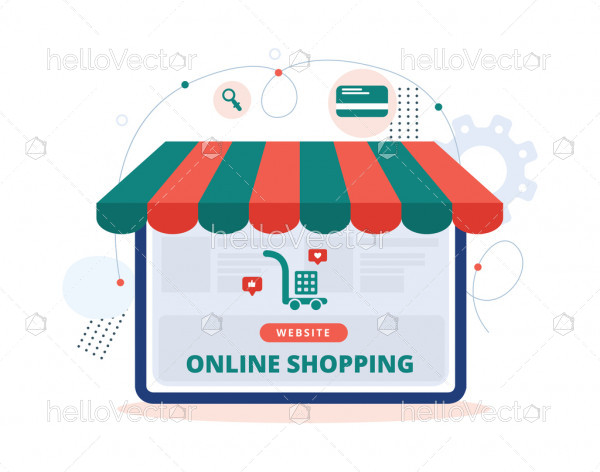Online shopping store flat illustration