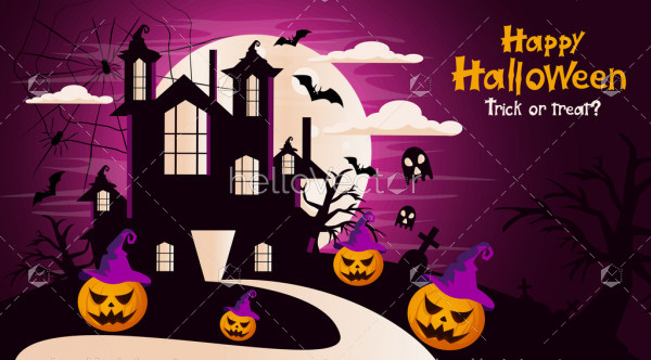 Happy Halloween vector witch castle background