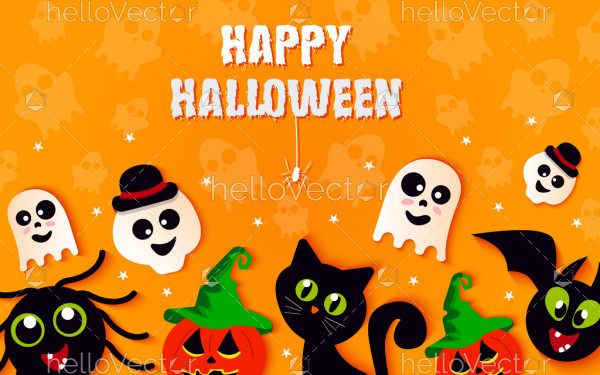 Halloween background with cute elements