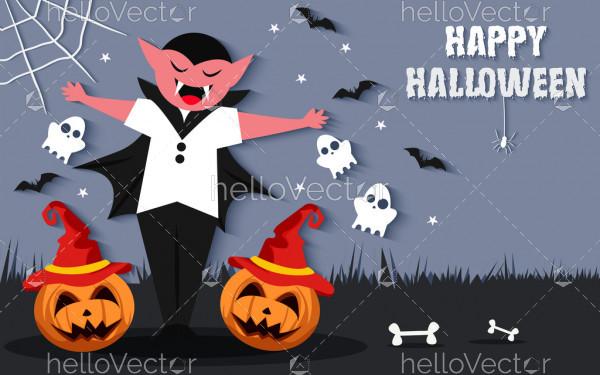 Vampire Halloween Vector Scary Background