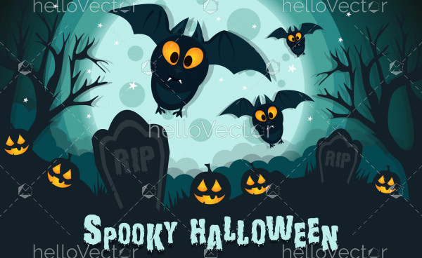 Spooky halloween illustration with flying bats