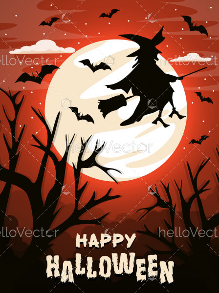 Happy Halloween background with flying witch on the full moon