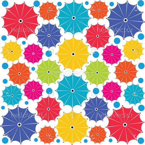 Multicolor umbrella seamless pattern - Vector background