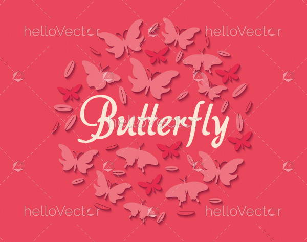 Abstract paper cut out butterfly background