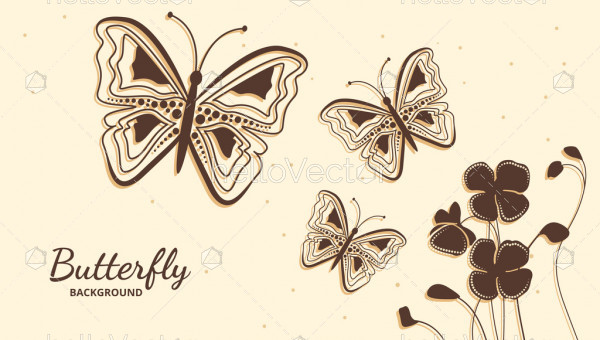 Decorative butterflies floral background vector