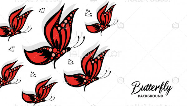 Flock of flying colored butterflies background