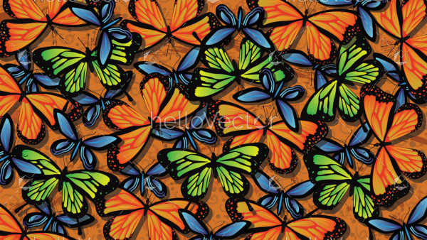 Seamless colorful butterfly background vector