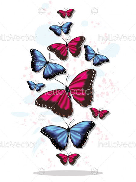Flying flock of butterflies. Vector illustration