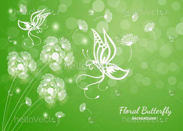 Butterfly floral green background illustration