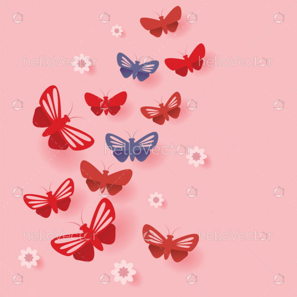 Fly flock of butterflies cut out paper style illustration