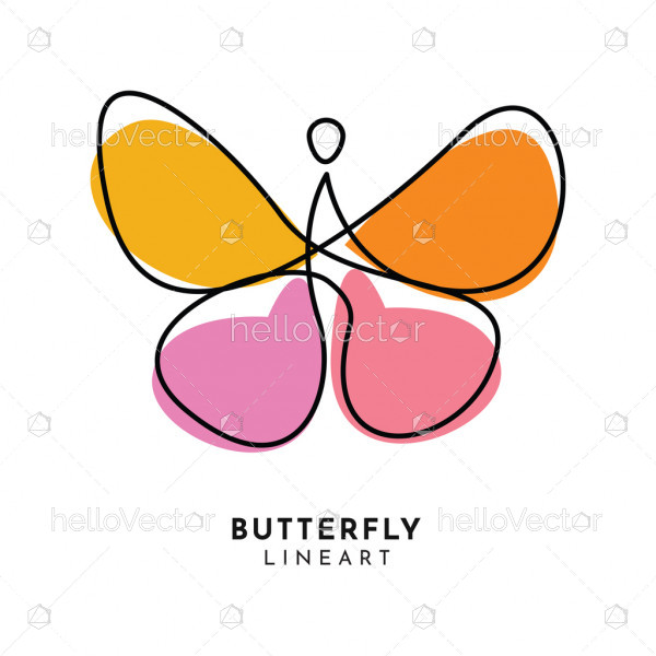 Abstract colorful butterfly line art logo template