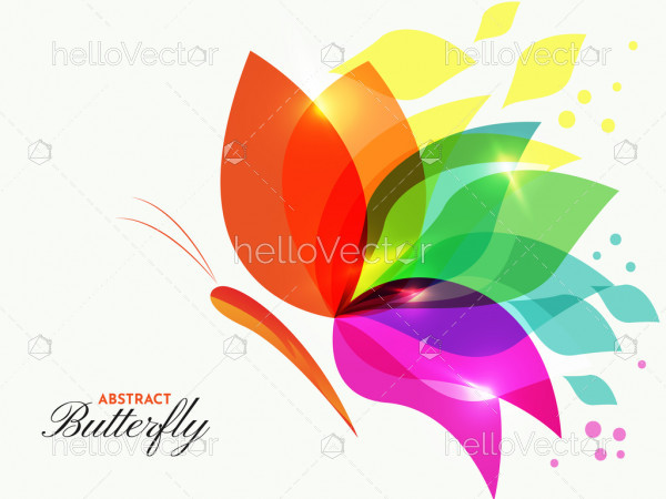 Abstract colorful overlay transparent butterfly illustration