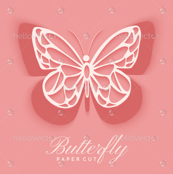 Paper cut out butterfly background vector