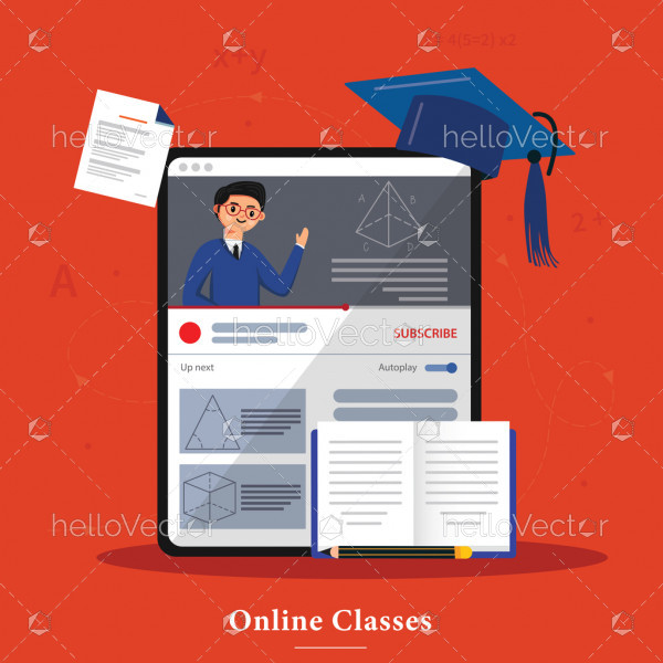 Online education illustration, distance study at home