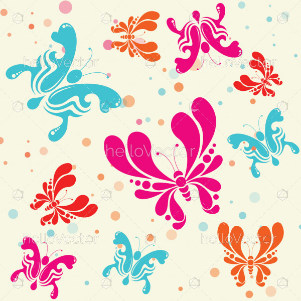 Colorful butterflies seamless pattern background - Vector Illustration