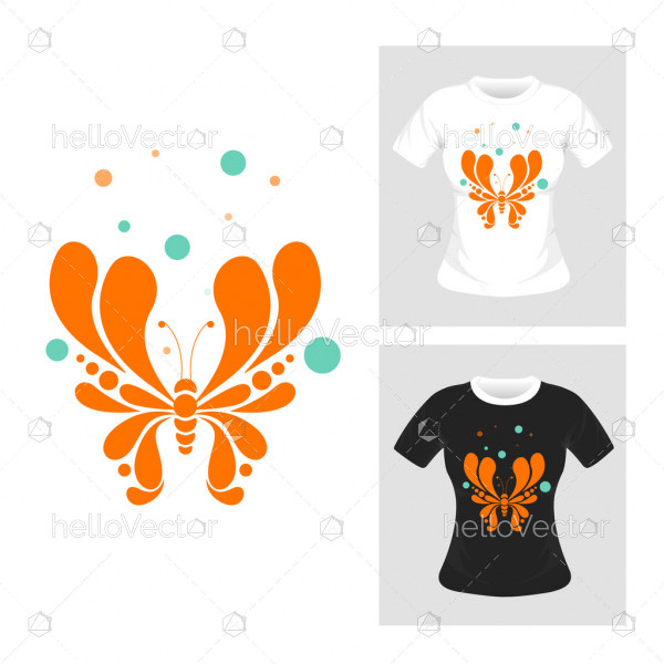 Abstract butterfly vector illustration. T-shirt graphic design.
