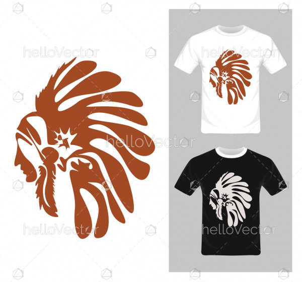 North American Indian chief vector - T-shirt graphic design
