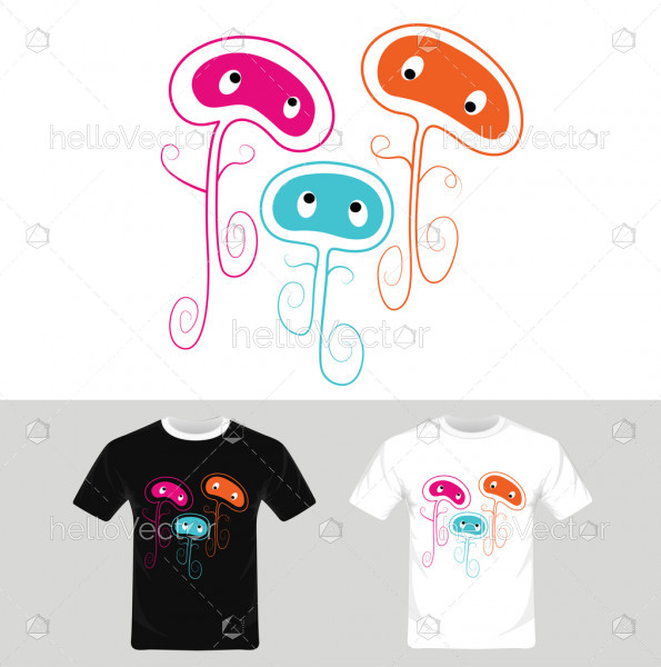 Cartoon characters vector - T-shirt graphic design
