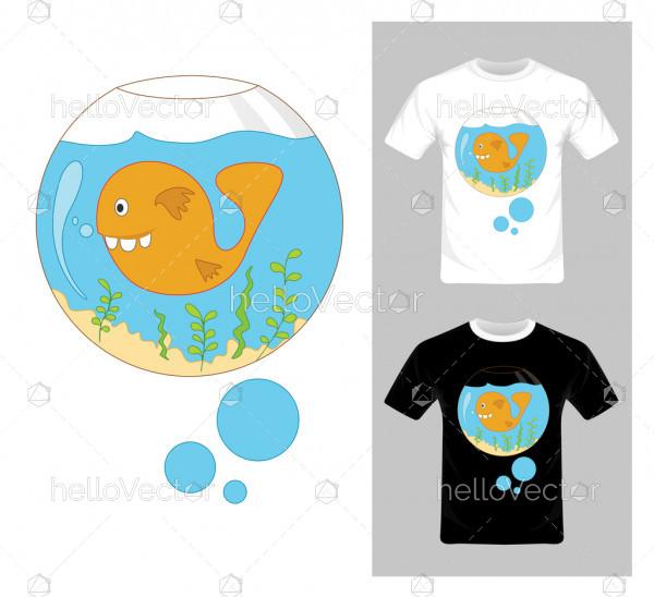 Cartoon Fish In Aquarium Vector. T-shirt graphic design