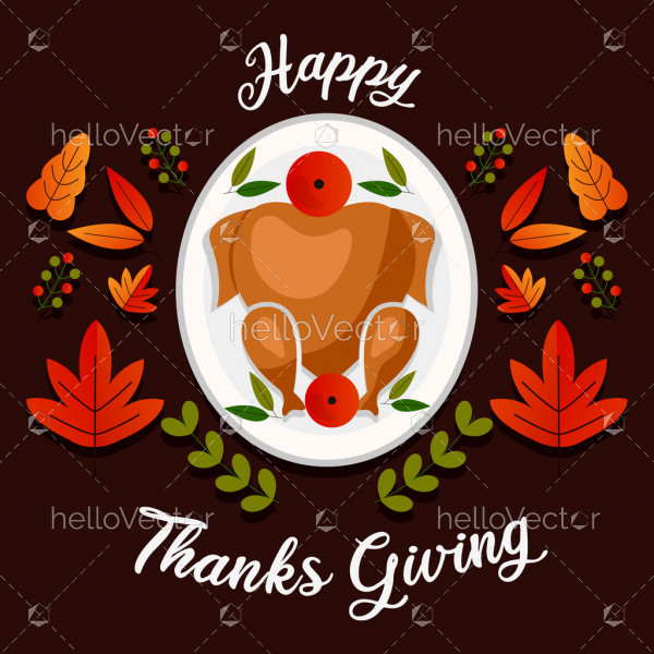Thanksgiving day background with traditional food