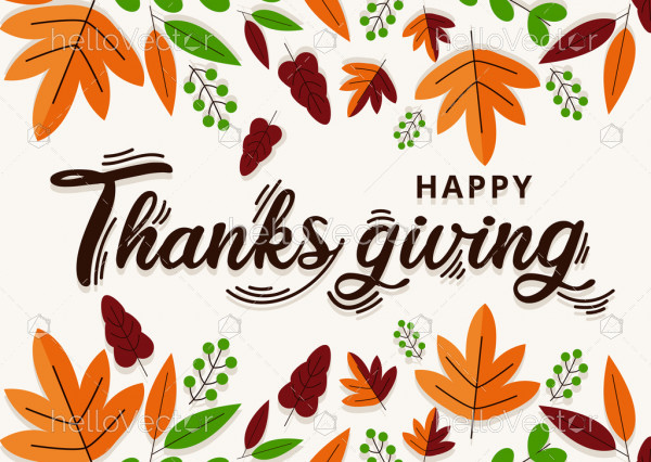 Flat design thanksgiving background with leaves