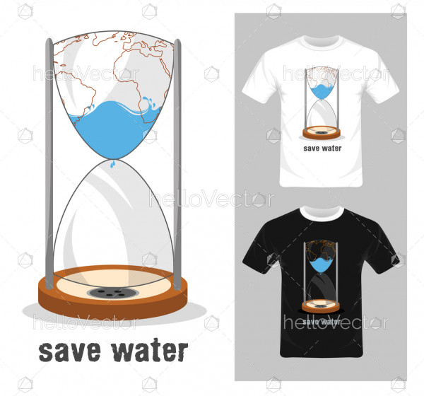 Save water concept - Vector illustration. T-shirt graphic design