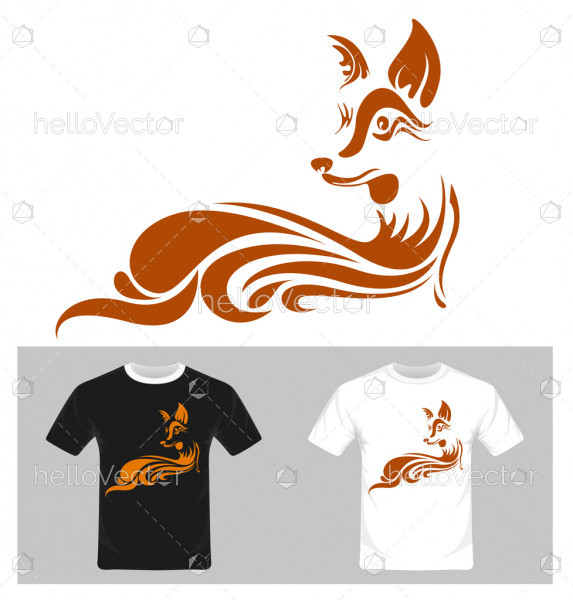 Fox abstract vector. T-shirt graphic design illustration.