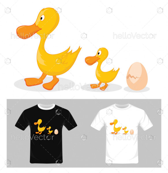 Life cycle of a duck - Vector illustration . T-shirt graphic design