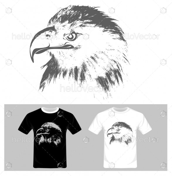 Eagle face vector illustration. T-shirt graphic design.