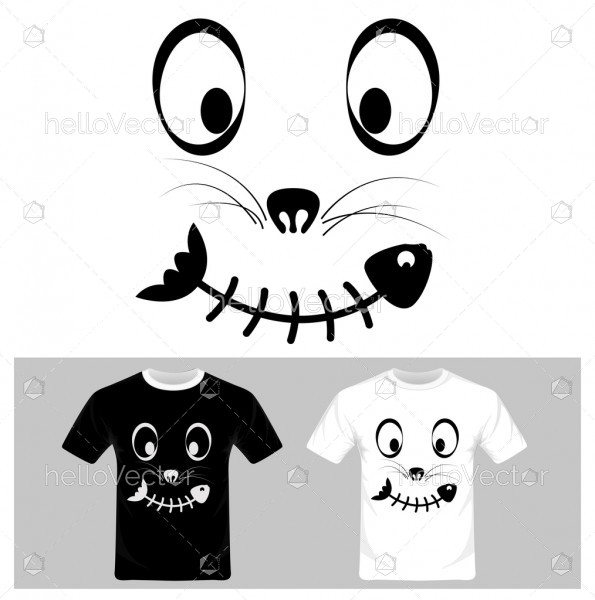 Funny cat face cartoon with fish vector. T-shirt graphic design illustration.