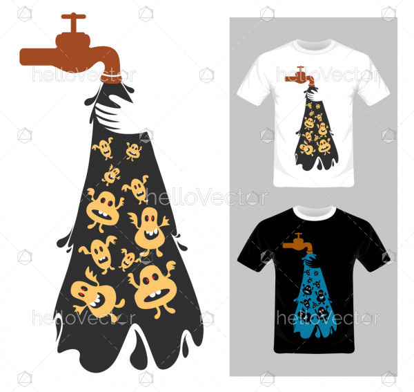 Water pollution concept. T-shirt graphic design vector illustration.