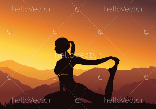 Silhouette yoga background. Young woman practicing yoga on mountain - vector illustration