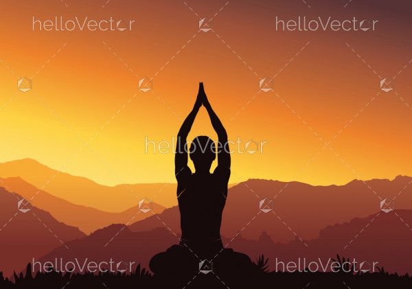 Silhouette yoga background - vector illustration