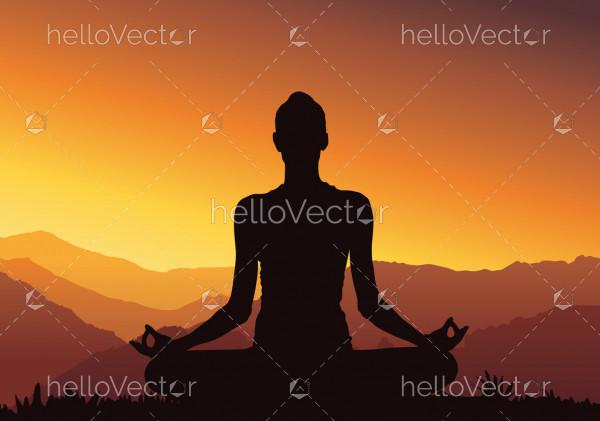 Yoga background, silhouette - Vector Illustration