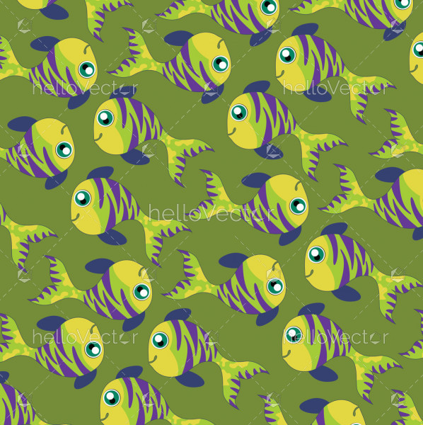 Fish background vector. Seamless pattern of fish on green background.
