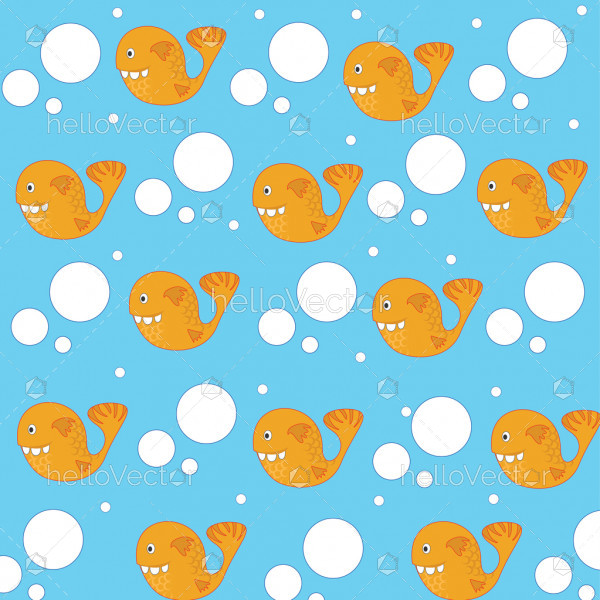 Fish background vector. Seamless pattern of funny fish with dots.