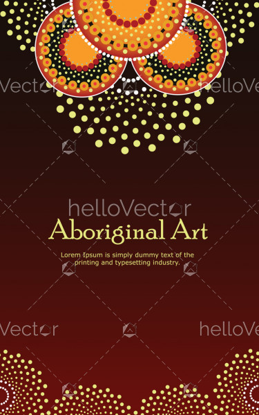 Aboriginal art. Vector Banner with text.
