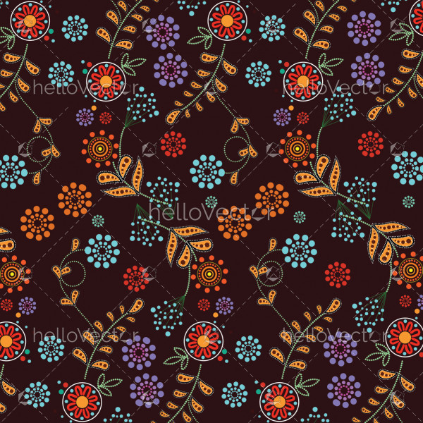 Floral background vector. Illustration based on aboriginal style of dot painting.
