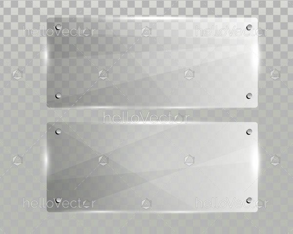 Realistic horizontal transparent glass frame