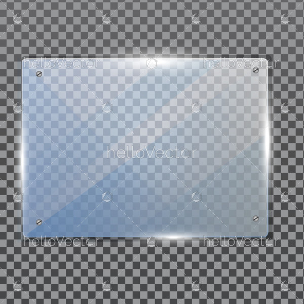 Realistic transparent glass in rectangle frame