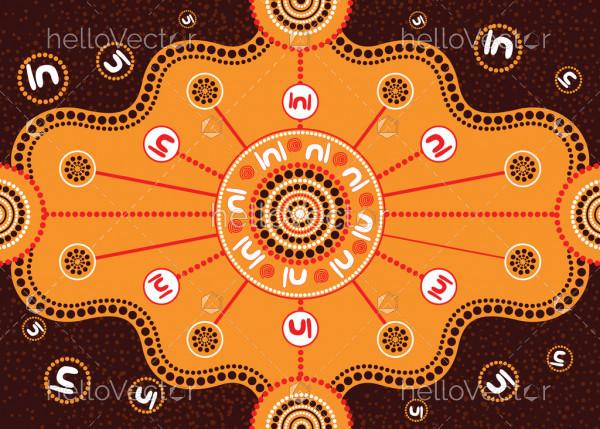 Meeting place, aboriginal art vector painting
