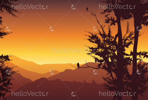 Nature background. Colorful sunset in wild valley, mountain with trees - vector illustration