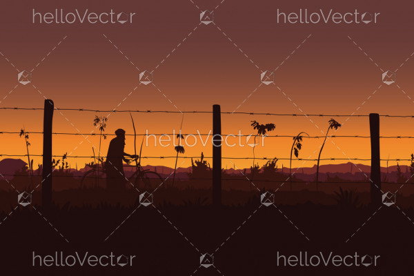 Sunset background vector. Silhouette of man on bicycle at sunset - Vector illustration